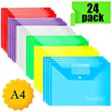 Portadocumenti Trasparente A4 - 24 Pz Portadocumenti di Plastica Cartellette Portadocumenti Cartelline con Bottone