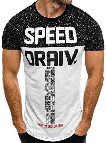 OZONEE Herren T-Shirt mit Motiv Kurzarm Rundhals Figurbetont J.STYLE SS095 Schwarz