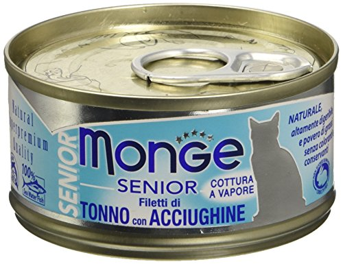 Monge Cat Senior Filetti di Tonno con Acciughine 80 gr 1 Lattina