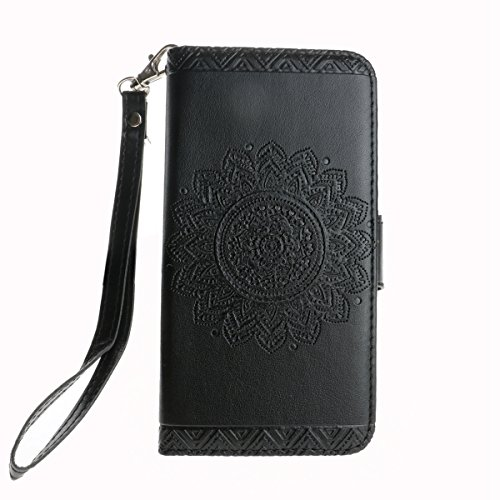 Custodia iPhone X,iPhone X Custodia in pelle,Felfy Belle Colorato Dipinto Elegante Lusso Rigida Fantasia Design Stand Flip PU pelle Portafoglio/Wallet Cuoio/Libro Bookstyle Leather Case per Carte di C Piastra,Nero