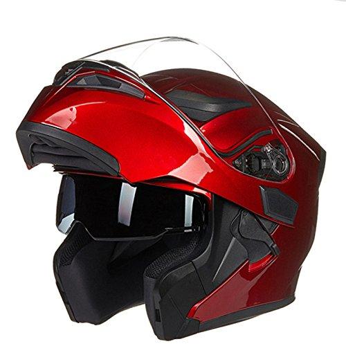 Motorrad Helm Double Lens Outdoor Männer Radfahren Atmungs Schutzhelm,Red-M=55-57cm