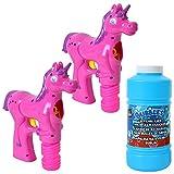 TE-Trend 2 Stück Einhorn Unicorn Pferd Seifenblasen Set Seifenblasenpistole Bubble Pistole LED Licht 475 ml Nachfüllflasche pink