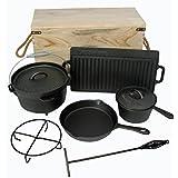 Buckingham 7 Piezas Deluxe tratada previamente batería de Cocina de Hierro Fundido, ...