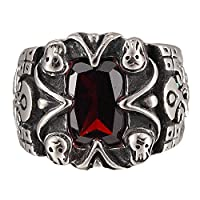 Red CZ Ruby Eyes Alien Skull Vintage Stainless Steel Gothic Skull Men's Punk Retro Ring