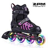 2pm Sports Brice tamaño ajustable iluminación patines en línea para niños y adolescentes con luz completa hasta LED ruedas, diversión flashing roller skates para niños y niñas - Rosado S(31-34)