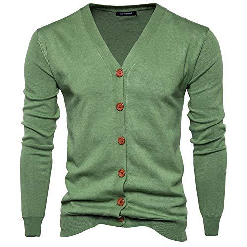 Preisvergleich Produktbild Swallowuk Herren Strickjacke Vintage Herbst Winter Warm Slim Fit Strickpullover Männer Jacke Mantel Open Cardigan V-Ausschnitt Sweatshirt Outwear Knitwear (M,  Grün)