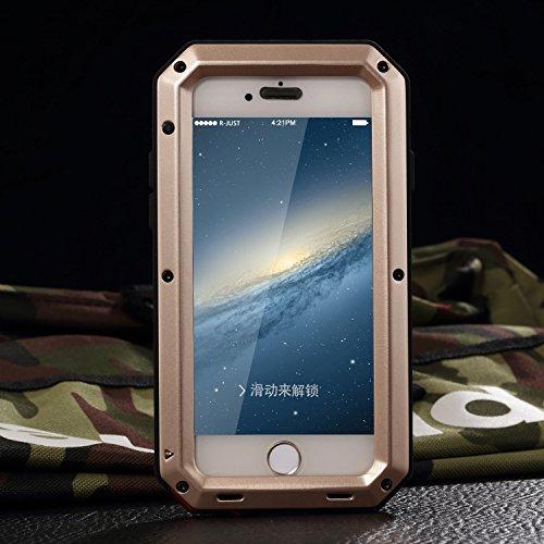iPhone 6Plus Coque, Housse pour iPhone 6S Plus r-just étanche anti poussière et anti chocs pare-chocs [Protection intégrale anti-rayures] Camouflage étui en métal pour Apple iPhone 6Plus et iPhone 6 doré