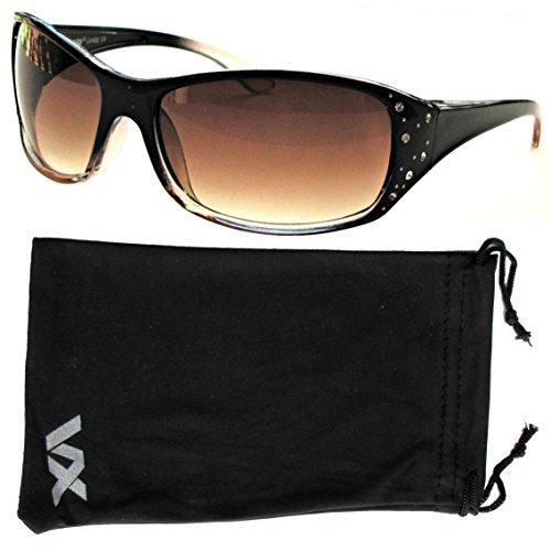 Occhiali da sole Sport del progettista moda strass Eyewear Vox donna - Telaio nero e trasparente - Lente ambrata