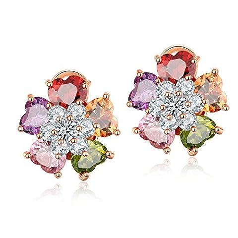 CARSINEL Clips Fleur nuptiale sur Boucles d'oreilles pour Femmes Filles Rose plaqué or avec diamant