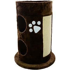 Mool Deluxe Arbre à chat cylindrique avec griffoir, cachette et plateforme Marron 58 cm