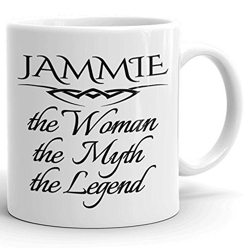 Jammie Coffee Mug Kaffeetasse Kaffeebecher Personalisiert mit Name - The Woman The Myth The Legend - Beste Geschenke Gift for Frauen Women - 11 oz White mug