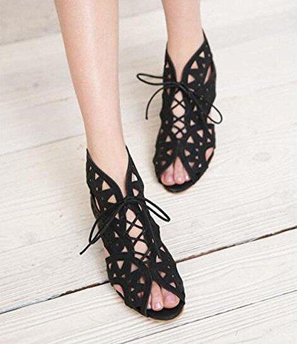 SHINIK Damen Peep Toe Knöchelriemen Pump Blanket Hollow Wedge Charmante Spitze Schuhe römische Sandalen Black
