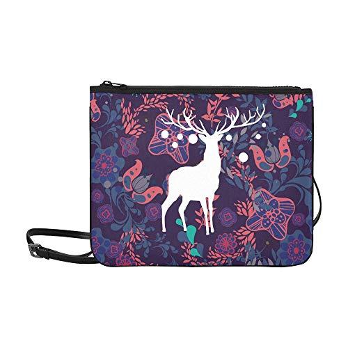 WYYWCY Rentier-Tapete Benutzerdefinierte hochwertige Nylon Slim Clutch Bag Cross-Body Bag Umhängetasche -