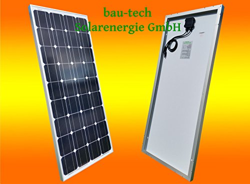 bau-tech Solarenergie 130 Watt 12V Solarmodul Monokristallin - Solarpanel - PV-Modul - Solar Photovoltaik - Camping GmbH