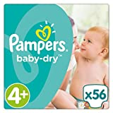 Pampers - Baby Dry - Couches Taille 4+ (10-15 kg) - Pack Value+ (x56 couches)