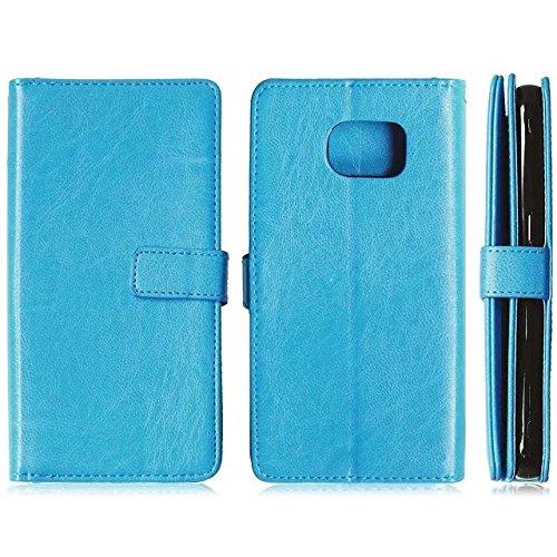 Samsung Galaxy S7 PLUS Fall, Solid Color-Qualität PU-Leder-Kasten-Abdeckungs-Standplatz-Mappen-Kasten für Samsung-Galaxie S7 PLUS ( Color : Rose , Size : S7 PLUS ) Blue
