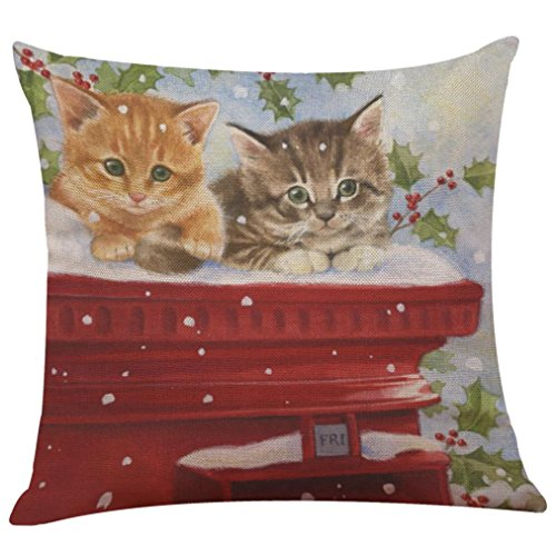 18 18inch Pillow Case  HUHU833 Merry Christmas Cotton Linen Sofa Cushion Cover Home Decor  Cat B