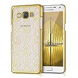 kwmobile Cover per Samsung Galaxy A5 (2015) - Custodia Rigida Trasparente per Cellulare - Back Case Cristallo in plastica Oro/Trasparente