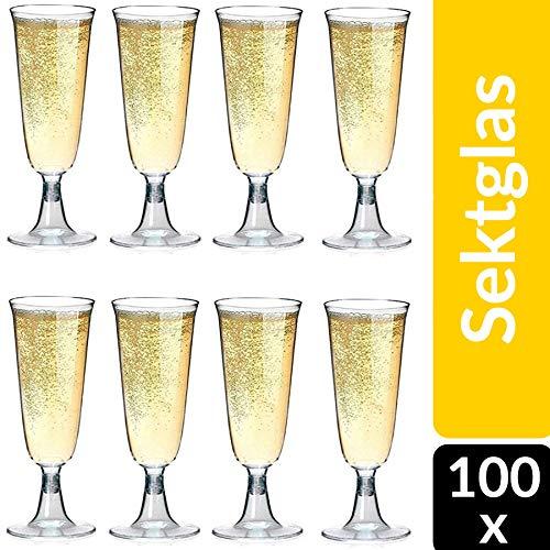 100 Plastik Sektgläser 0,1L I Bruchfeste Einweg Sektglas I Sektkelche für Hochzeit   Champagnergläser aus Kunststoff