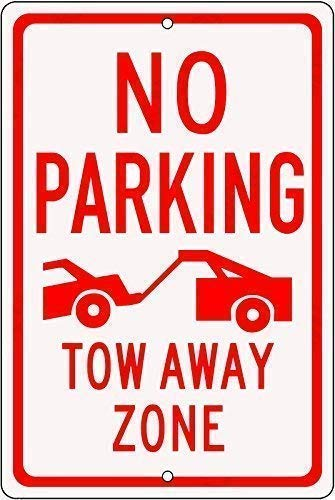 Toddrick Warning Permit Parking Only Tow Away Zone Enforced Always Yard Fence Plaque Art Zinn schicke Zeichen Vintage-Stil Retro Küche Bar Pub Coffee Shop Dekor 8