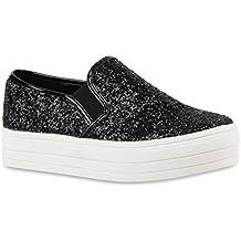 0f110f23d9c863 Stiefelparadies Damen Sneaker Slip Ons mit Plateau Glitzer Flandell