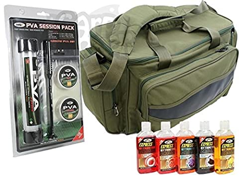 Carp Fishing Green Carryall Bag Padded PVA Tube Bags string Tape & 5 Bait Glugs Made By NGT
