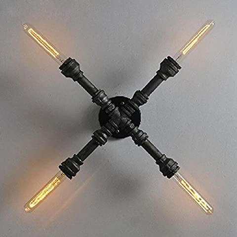 JUJUN Pared de LED E27 luces creativo Industrial-estilo Retro para pasillo pasillo pasillo decoración forja Cruz lámparas de pared de tuberías de agua sin luz