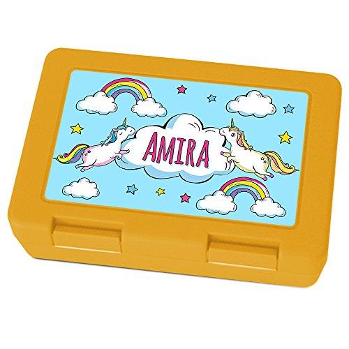 Preisvergleich Produktbild Brotdose mit Namen Amira - Motiv Einhorn, Lunchbox mit Namen, Brotdose Gelb - Frühstücksdose Kunststoff lebensmittelecht