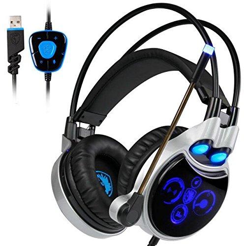 SADES R8 Virtual 7.1 Surround Sound professionelles Gaming Headset, Wired USB Over-Ear-Kopfhörer mit Mic Lautstärkeregelung und blaues LED Licht für PC /Mac (schwarz / blau)