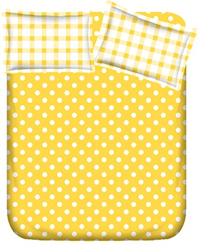 RR Textile House 100% Cotton Yellow with White Circles1 Bedsheet with 2 Pillow Cover