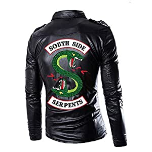 Riverdale South Side Serpente Giacca Nero Uomo Retro Giacca Biker in Pelle Vintage