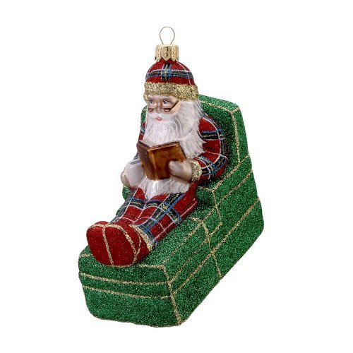 David Strand Kurt Adler Glass Santa Bedtime Story Stewart Ornament, 5.3-Inch by David Strand (Strand Santa Ornament)