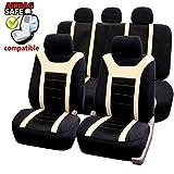 Akhan SB204 - Qualität Auto Sitzbezug Sitzbezüge Schonbezüge Schonbezug mit Seitenairbag Schwarz/Beige