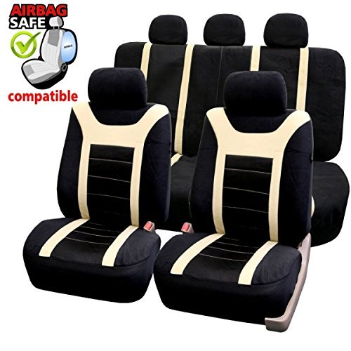 Akhan SB204 – Housses de siège Auto de qualité supérieure avec airbag latéral Noir/Beige