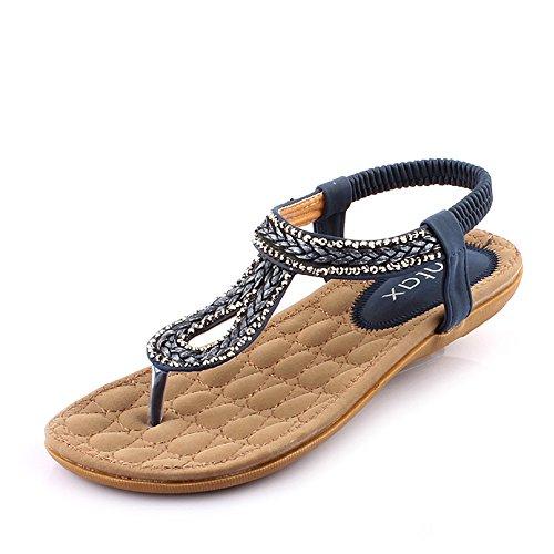 Pente avec sandales à talons hauts à bascule --- Sandales pour femmes Printemps été Tous les matchs Chaussures de club de plage Chaussures Confort Robe Casual Talon bas Beige Bleu --- Herringbone fash Bleu