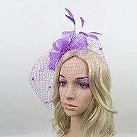 Fletion Gante mujeres niñas brillantes vela Fascinator Barrette sombrero de flores con bordado para el arco en forma de vela de la Mari Cabello Banquet o la Fie morado morado