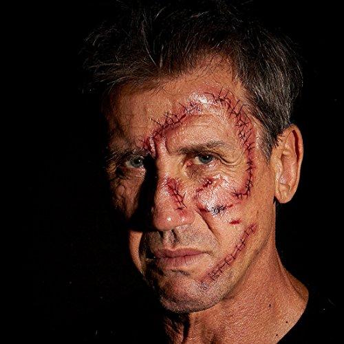 Amakando Genähte Wunden künstlich - 10er Set - Fake Tattoo Horrorwunde Kunstwunden schminken Zombie Fakewunden Fleischwunden Schnittwunden Halloween Fake (Fake Narben Für Halloween)