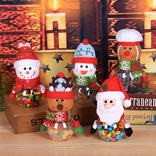 Todaytop 5er Set Weihnachtsgebäck Vorratsdose, Süßigkeiten-Box aus Kunststoff Gebäckdosen Schneemann Weihnachtsmann Keksdose Keksdosen Aufbewahrungsdosen zu Weihnachten
