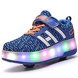 Unisex Schuhe mit Rollen Kinder Skateboard Schuhe Rollschuh Schuhe LED Light Wheels Sneakers Outdoor-Trainer für Junge Mädchen (34 EU, Zwei Räder/blau)