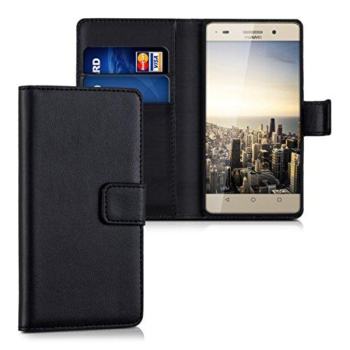 kwmobile Huawei G Play Mini Hülle - Kunstleder Wallet Case für Huawei G Play Mini mit Kartenfächern und Stand - Schwarz