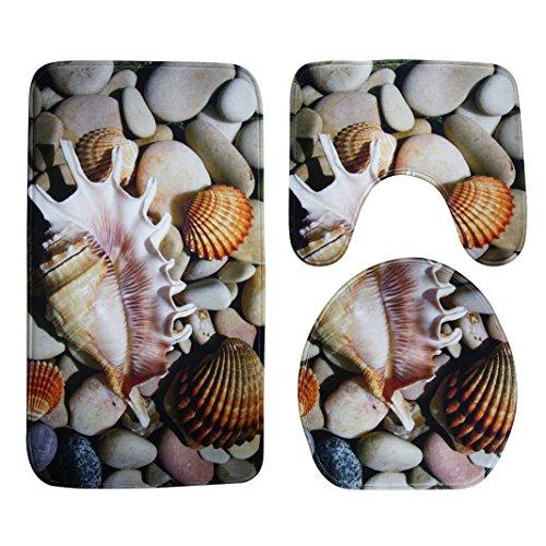 Badematten Set 3tlg, Asnlove 3er Badgarnitur Badezimmer Matte Set Dusch Bade Matte Vorleger Teppich 3D Muster für Wohnzimmer, Schlafzimmer, Schwimmbad Toilet - Tritonshorn/Muscheln