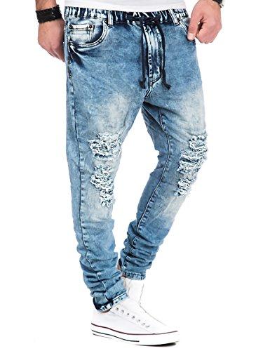Jogg Jeans Herren Hose JoggJeans Destroyed Look Blau Blau