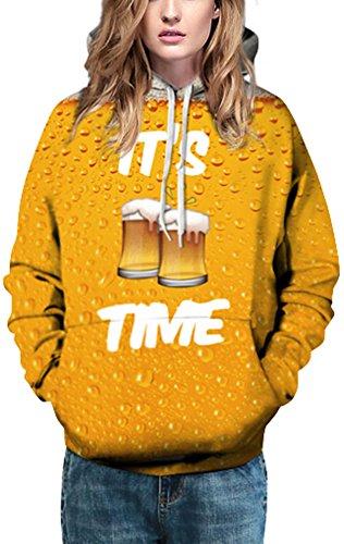 EmilyLe Damen 3D Druck Sweatshirts Weihnachten Pullover mit Cartoon Aufdruck Kapuzenjacke Langarm Top Hoodie Bier