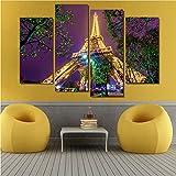 fydzyz Kunstfoto auf Leinwand 4 Stück Eiffelturm Nacht Landschaft Moderne Home Decor Leinwandbild Kunst HD Drucken Leinwand Malerei Auf Leinwand Günstige Artworks