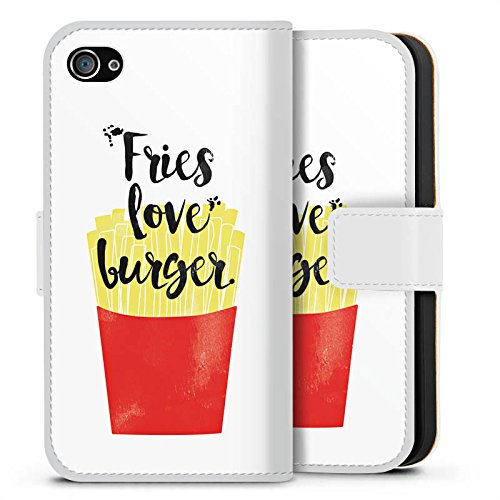 Apple iPhone X Silikon Hülle Case Schutzhülle Pommes Fastfood Burger Sideflip Tasche weiß