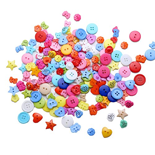 200 Pieces Resin Buttons Assorted Style and Size Sewing Buttons for Sewing/Scrapbooking/Knitting (Random Color)