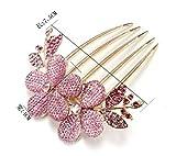 Fengh Fashion charm Lady Girl Flower pattern clip di capelli pettine rosa