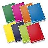 Pigna Colours 02136425M, Quaderno formato A4, Rigatura 5M, quadretti 5 mm per 2° e 3° elementare, Carta 80g/mq, Pacco da 10 Pezzi