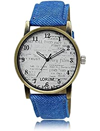 Styllent Attractive Stylish Sport Look White Dial Stylish Blue Leather Strap Analog Watch For Men & Boys