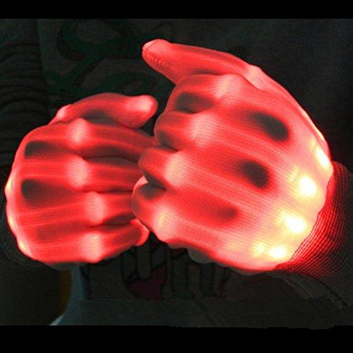 PIXNOR LED-Beleuchtung Handschuhe , Handschuhe Licht-Show, Halloween Party blinkt Finger Handschuhe (rot) (Halloween Handschuhe)